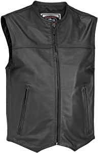 River Road Mens Brute Leather Vest Black Small S
