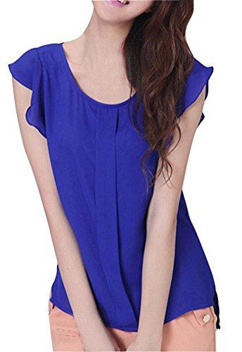 (Vobaga Women's Ol Career Casual Short Sleeve Slim Chiffon Shirt Tops Blouse Blue Xl)