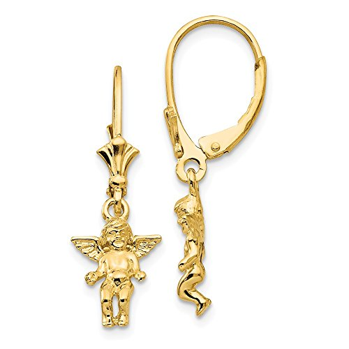 Diamond2Deal 14k Yellow Gold Mini Guardian Angel Leverback Earrings from Diamond2Deal