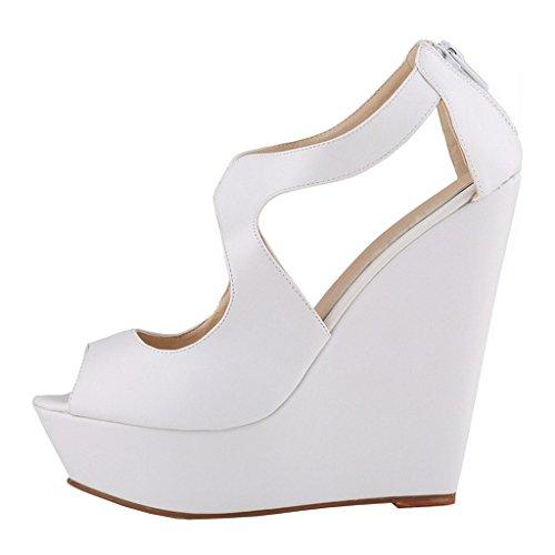 EKS - Zapatos de Tacón Mujer White-matte