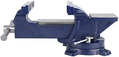 5 Bench Vise Cast Iron 360 Degree Swivel Base Steel Heavy Duty Tabletop ClampSolid Broad Anvil