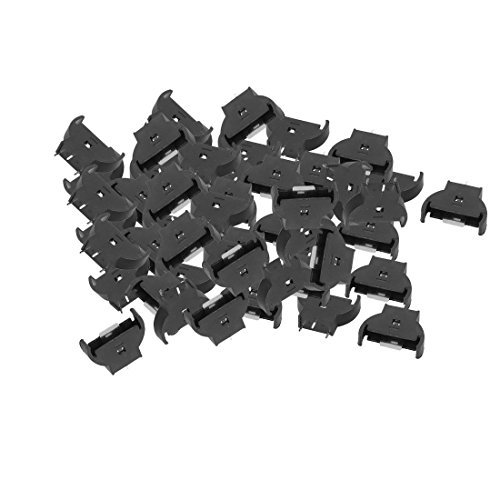 DealMux 50pcs Black Plastic Shell Dip Type CR2032 Coin Button Cell Battery Holder Socket Case