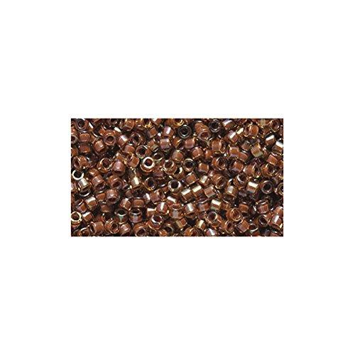 Miyuki Delica Seed Bead 11/0 DB287, Amber Lined Root Beer Aurora Borealis Finish, 9-Gram/Pack