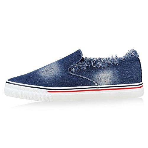 Stiefelparadies Damen Strass Slip-Ons Sneakers Skater Slipper Helle Sohle Bequem Flandell Blau Avelar