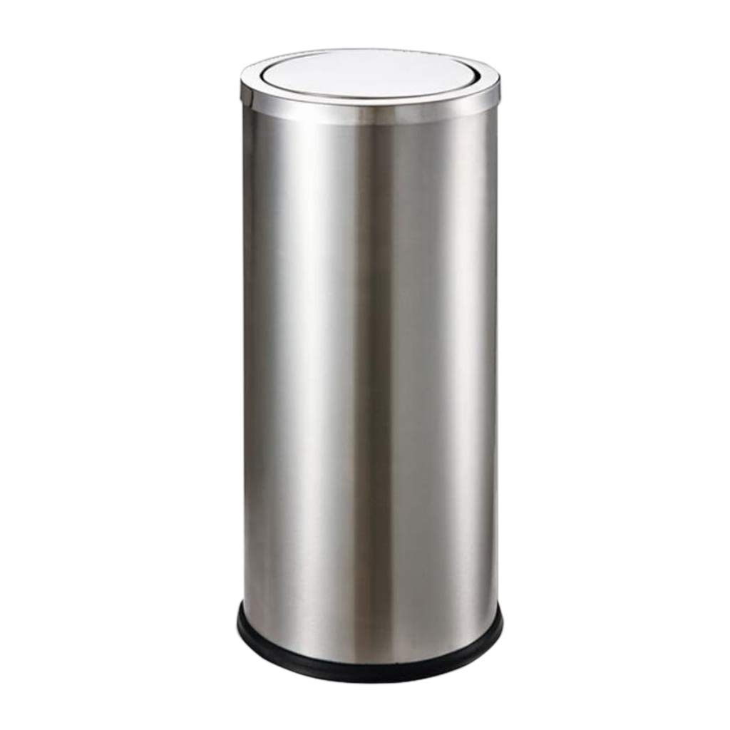 CSQ Stainless Steel Trash Can, Barrel-Shaped Trash Can, Shopping Room Classroom Living Room Trash Can, Bedroom Study Trash Can Indoor