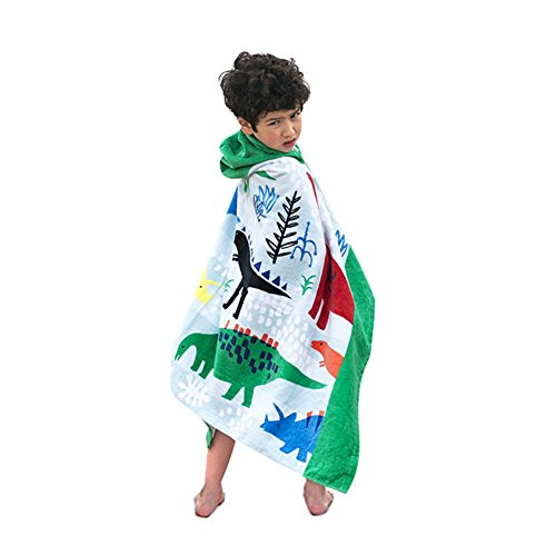 Bavilk Kids Children Hooded Poncho Dinosaur Swim Beach Bath Towel for Girls / Boys]()