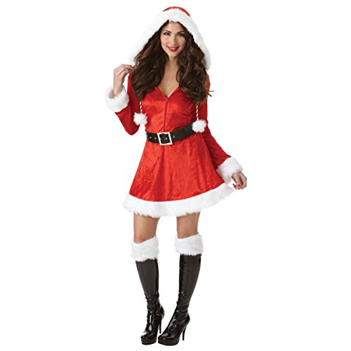 Ladies Adult Sassy Sexy Santa Fancy Dress Costume Merry Christmas Xmas Grotto Nativity Plush Fur Furry Detail with Hood Belt & Boot Tops (Plus 18-20)