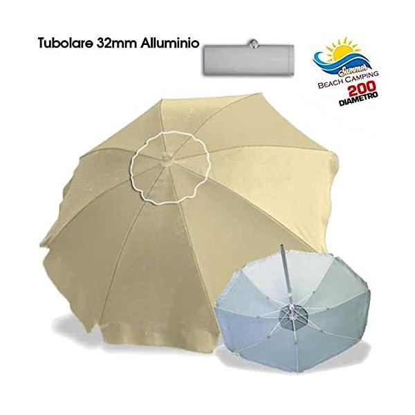 BAKAJI Ombrellone in Alluminio da Spiaggia Mare o Piscina Diametro 200 cm Mare con Snodo Antivento e Sacca in PVC per Il… 2 spesavip