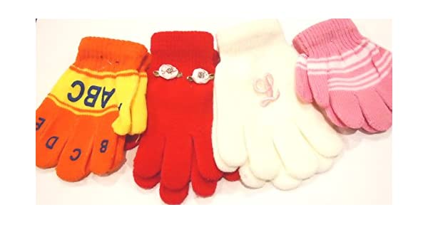 Four Pairs Magic Mittens Gloves for Infants Ages 1-4 Yrs One with Monogram
