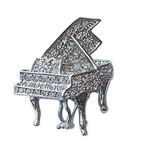 (Aienid Women Brooch Platinum Plated Crystal Grand Piano Design Brooch Pin)