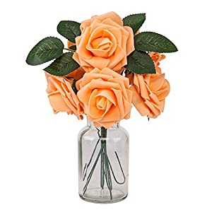 Fake Flowers, Artificial Rose Petals for Decoration, 25pcs Real Looking Roses for DIY Home Wedding Bouquet Party Decorations, Flower Centerpieces Arrangements for Tables (Light Orange) 16