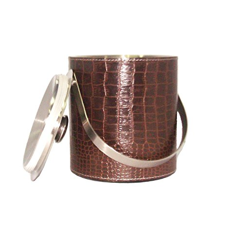 PARIJAT HANDICRAFT Stainless Steel Bar Tools and Gadget SetsPremimum Leather Stainless Steel Double Walled Insulated Brown Colored Ice (Leather Ice Bucket)
