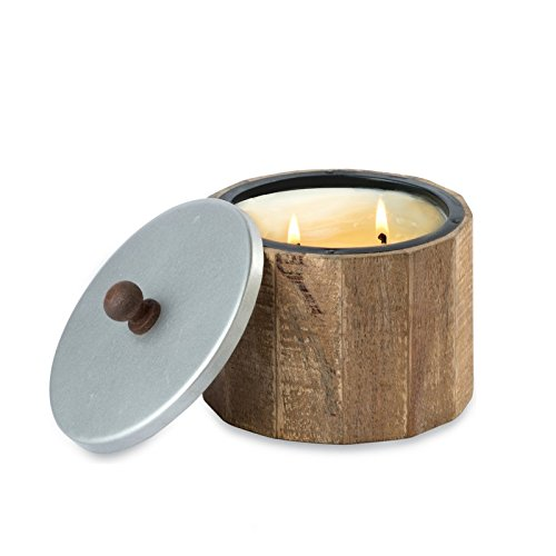 Himalayan Trading Post Wooden Barrel Candle with Antique Finish Metal Lid, Small, Red Currant by Himalayan Trading Post