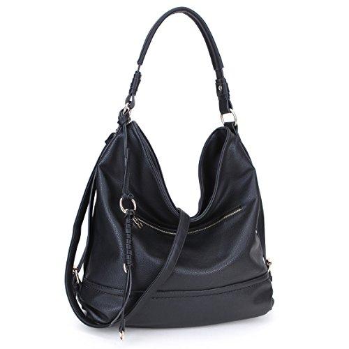 Dasein Women Large Casual Hobo Handbag Shoulder Purse Soft PU leather Crossbody Bag (Black)
