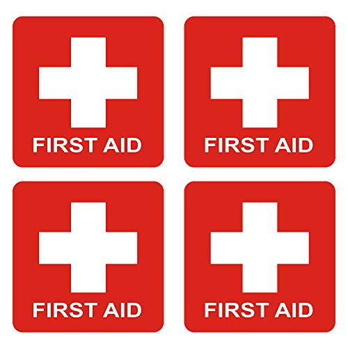 - dealzEpic - First Aid Cross Sticker Sign - Self Adhesive Peel and Stick Vinyl 1st Aid Decal Symbol - 3.94x3.94 inches | Pack of 4 Pcs