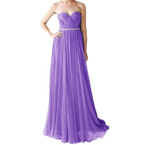 Chiffon Festkleider Hellviolett LuckyShe Damen linie Silk Lang A Elegant Ballkleid Abendkleider wXxIACBq