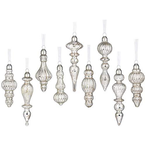 glasburg Mercury Glass Christmas Drop Finial Ornaments Antique Silver(9 Ornaments) (Glass Set Mercury)