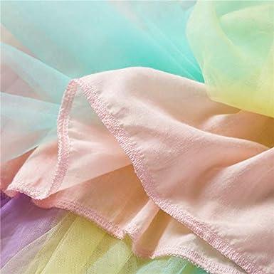 Ni/ñas Playera y Falda de Dos Piezas Princesa Rainbow Vestido Falda de Malla Vestido 1-6 a/ños