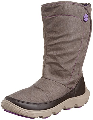 crocs Women's Duet Busy Day Boot,Espresso/Mushroom,7 M (Croc Flap)