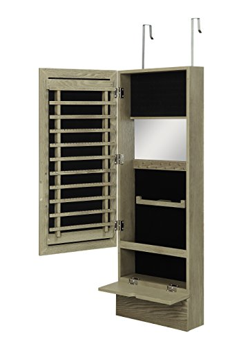 Over the Door Jewelry Organizer Armoire Cabinet with Mirror by Abington Lane