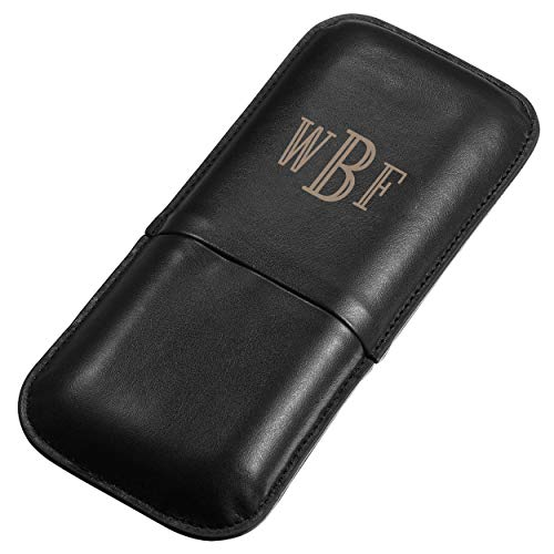 Personalized Visol Honor Three-Finger Synthetic Leather Cigar Case with Free Monogram