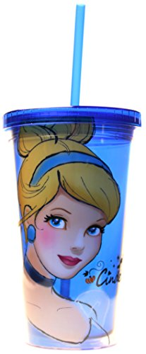 Silver Buffalo DP16087 Disney Cinderella BPA-Free Plastic Cold Cup with Lid and Straw, 16 oz., Blue