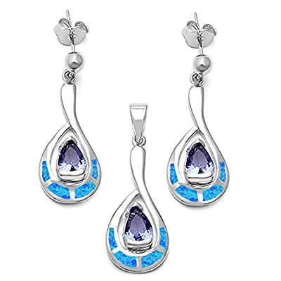 discount Blue-Violet Cz & Lab Created White Opal .925 Sterling Silver Jewelry Set hot sale