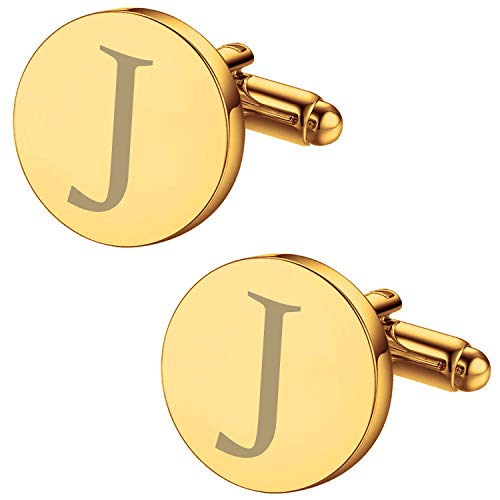 (BodyJ4You 2PC Cufflinks Engraved Personalized Initials Letter J Formal Button Shirt Gift Box Set)