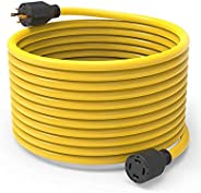 BougeRV Generator Power Cord Heavy Duty Electric Extension Wire Nema L14-30 4 Prong 10 Gauge SJTW Cable 125/25