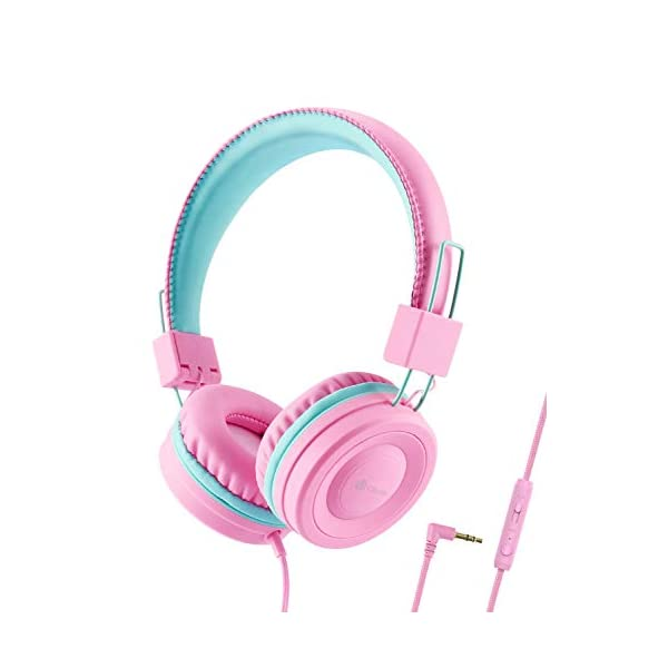 iClever Kids Headphones – Wired Headphones Kids, Adjustable Headband, Stereo Sound, Foldable, Untangled Wires, 3.5mm Aux Jack, 94dB Volume Limited – Childrens Headphones on Ear, Blue
