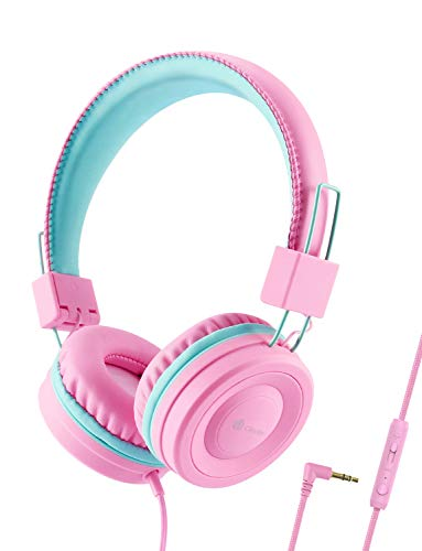 iClever Kids Headphones for Girls – Wired Headphones for Kids with MIC, Adjustable Headband, Foldable, Volume Control – Childrens Headphones on Ear for iPad Tablet Kindle Airplane School, Pink