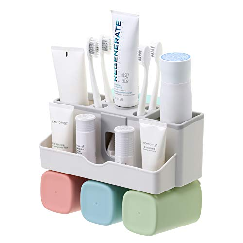 - SULKADA Toothbrush Holder Wall Mounted Toothpaste Holder Bathroom Organizer for 3 Cups Holder Stand