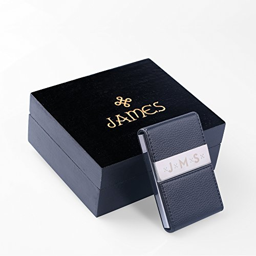 New Town Creative DG Personalized Black Leather Business Card Holder with Gift Box - Free Engraving - Great for Professionals