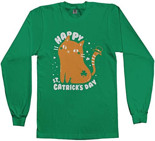 Threadrock Men's Happy St Catrick's Day St Patrick's Cat Long Sleeve T-Shirt L Kelly Green