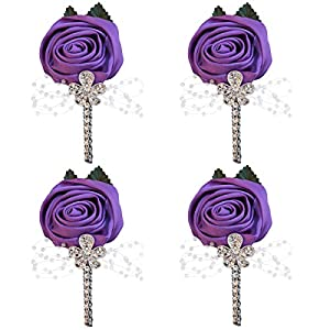 WIFELAI-A 4 Pieces/lot Factory Ivory Satin Flower Lapel Pin Mens Wedding Boutonniere Handmade Wedding Brooch Buttonhole Grooms Boutonnieres XH0677Y (Purple, 4) 92