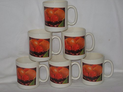 Set of 6 - Vintage Arcopal France Fruit & Flowers Cream Color 3 3/4 Inch Glass Mugs/Cups