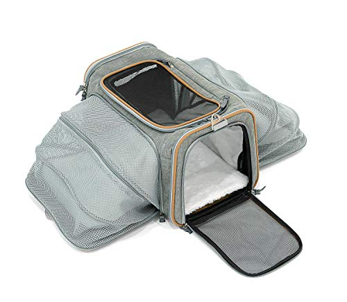 RETRO PUG Pet Carrier - Airline Approved Dog & Cat Carrier - 2-Way Expandable for Small and Medium Sized Pets - Soft-Sided Under Seat Compatible - Comfortable & Ergonomic - Ideal for Transport