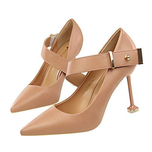 FLYRCX Einfacher Einfacher Einfacher Art und Weisetemperament-Hochferse Stiletto des europäischen Art flachen Munds zeigte dekorative Schuhe der Metallschnalle 54b3f3