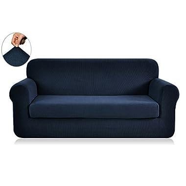 Chunyi 2-Piece Jacquard Polyester Spandex Sofa Slipcover (Loveseat, Dark Blue)
