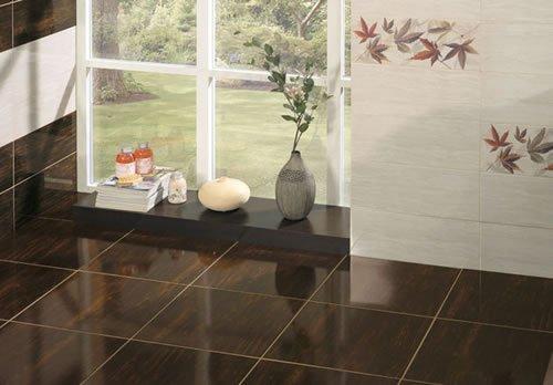 Dakota Brown Floor Tiles 447x447cm Gloss Brown Ceramic Tile 1