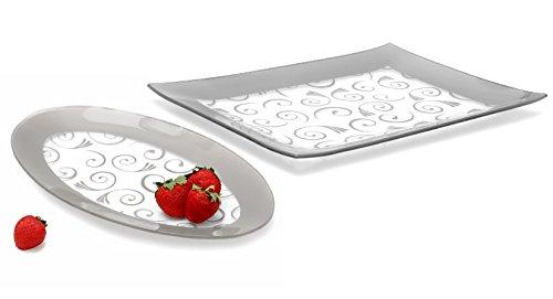 Dishwasher Safe Oval Tray Serving (GAC Tempered Glass Oval Platter and Rectangular Serving Tray Set Silver Decorative Serving Platters - Break and Chip Resistant - Microwave Safe - Oven Safe - Dishwasher Safe (Economy Pack))