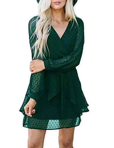 AOOKSMERY Women Cute V Neck Long Sleeve Mini Dresses Solid Polka Dot Swing Dress with Belt Dark Green