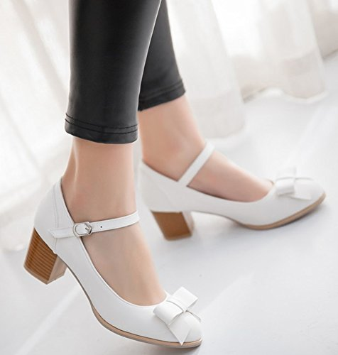 Idifu Womens Doux Arc Chunky Kitten Talons Pompes Cheville Sangle Boucle Travail Chaussures Blanc