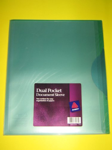 Avery 72264 Dual Pocket Document Sleeve, Translucent, Green, 3/Pack