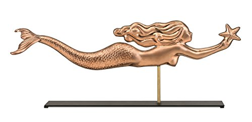 Good Directions Mermaid with Starfish Pure Copper Weathervane Sculpture on Mantel Stand: Nautical Home Décor