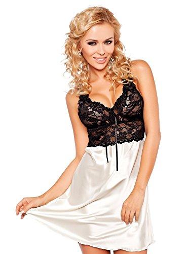 DKaren Women's Luxury Satin Chemise Nightdress Nightgown - Oliwia XXL Light Ecru