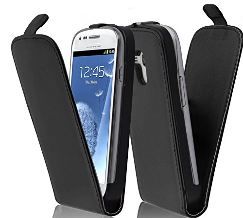 Cadorabo Case works with Samsung Galaxy S3 MINI in CAVIAR BLACK (Design FLIP SMOOTH) – with 2 Card Slots – Case Etui Cover Pouch PU Leather Flip