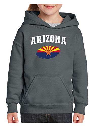 Arizona State Flag Unisex Hoodie for Girls and Boys (XSC) Charcoal]()