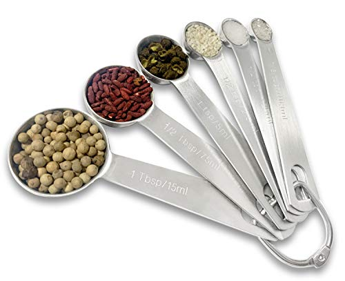 Measuring Spoons Set Stainless Steel With 18/8 Metal Set of 6 for Measuring Dry and Liquid Ingredients of Cooking Baking, with D-Ring Holder