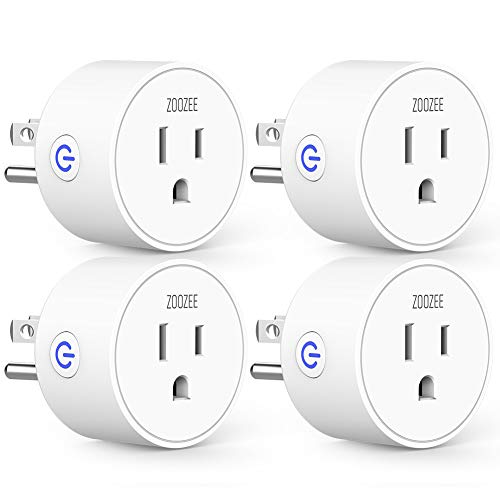 Smart Plug Mini Outlet Compatible with Amazon Alexa and Google Assistant, ZOOZEE Wifi Enabled Remote Control Smart Socket with Timer Function, No Hub Required, White, 4 Pack